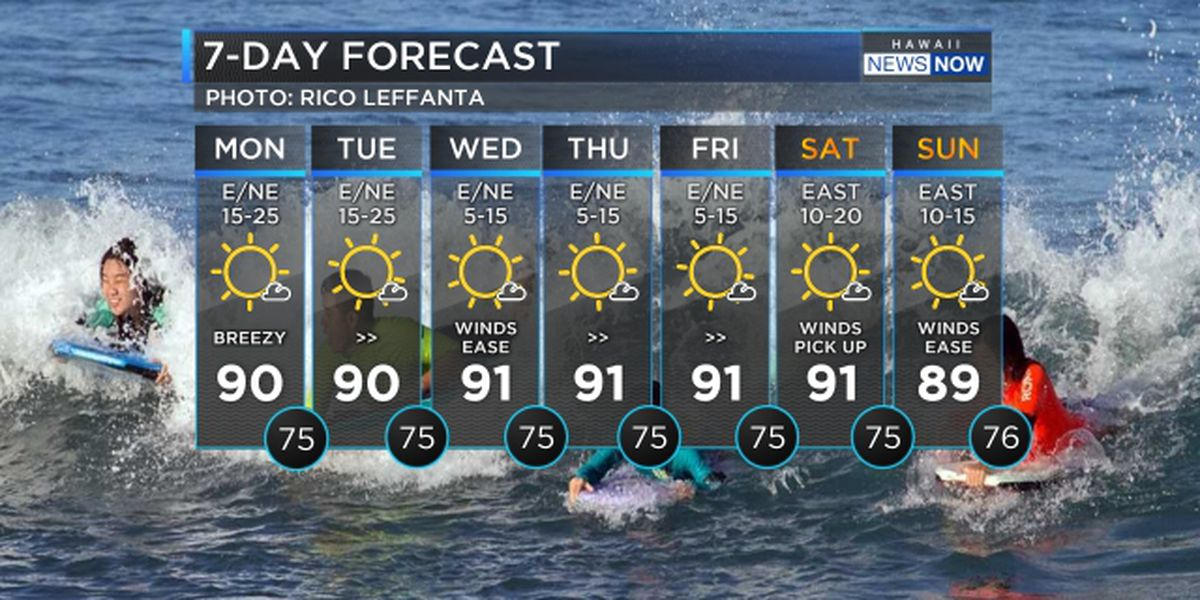 Forecast: Dry trade wind weather continues; red flag warning in effect