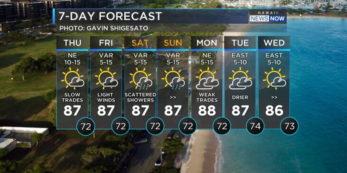 Forecast: Beautiful weather ahead with light trade winds