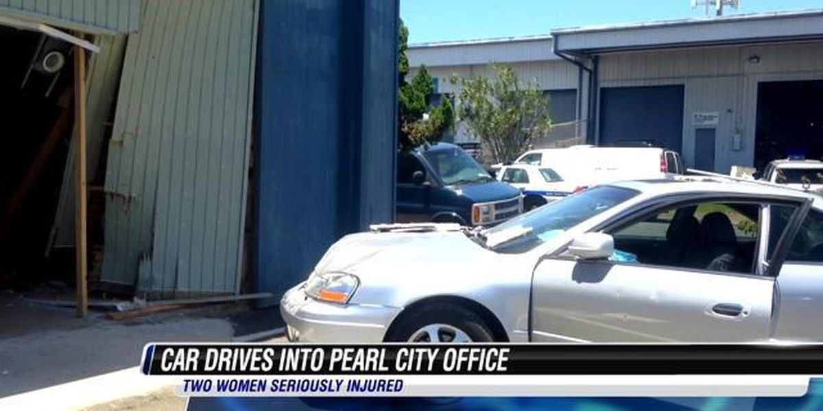 Two women seriously injured after car slams into Pearl City office