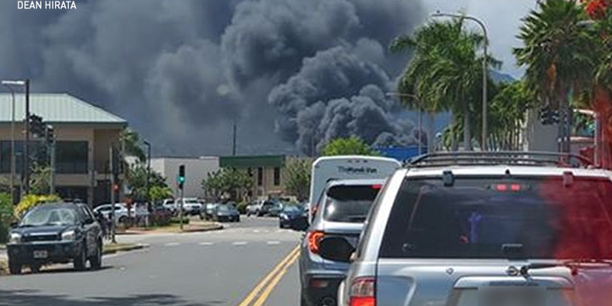 More than 50 firefighters battling large blaze on agricultural lot in Mililani