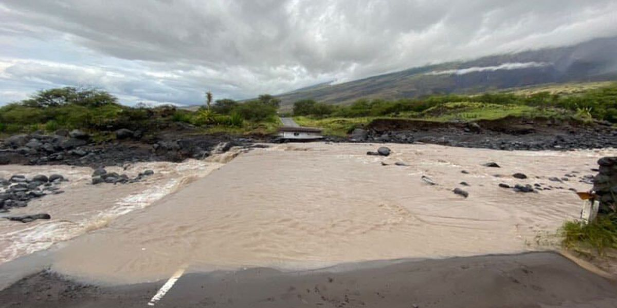 As heavy rains batter the state, flooding causes damage and road closures on Maui