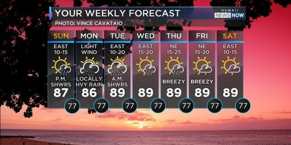 Forecast: Trade showers, then possible rain from ex-Fernanda