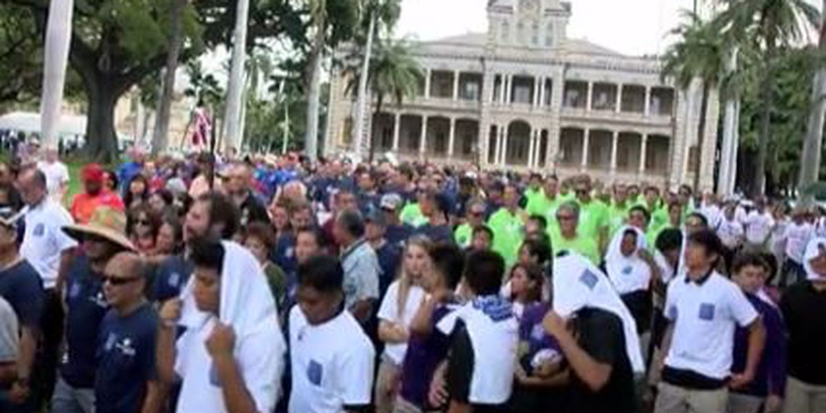 For a 25th year, men march through Honolulu to call for end to domestic violence