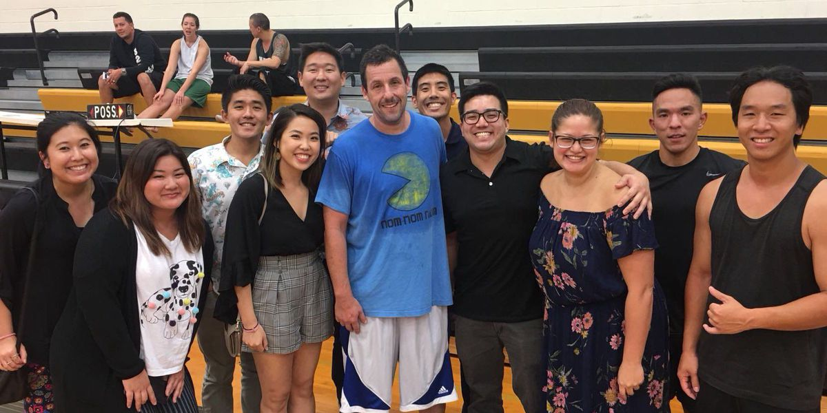 Adam Sandler shows up at HBA to play some church league hoops