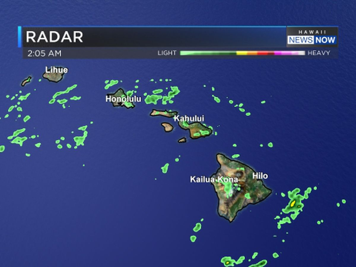 Forecast: Scattered clouds, a few light showers as frontal band moves through islands