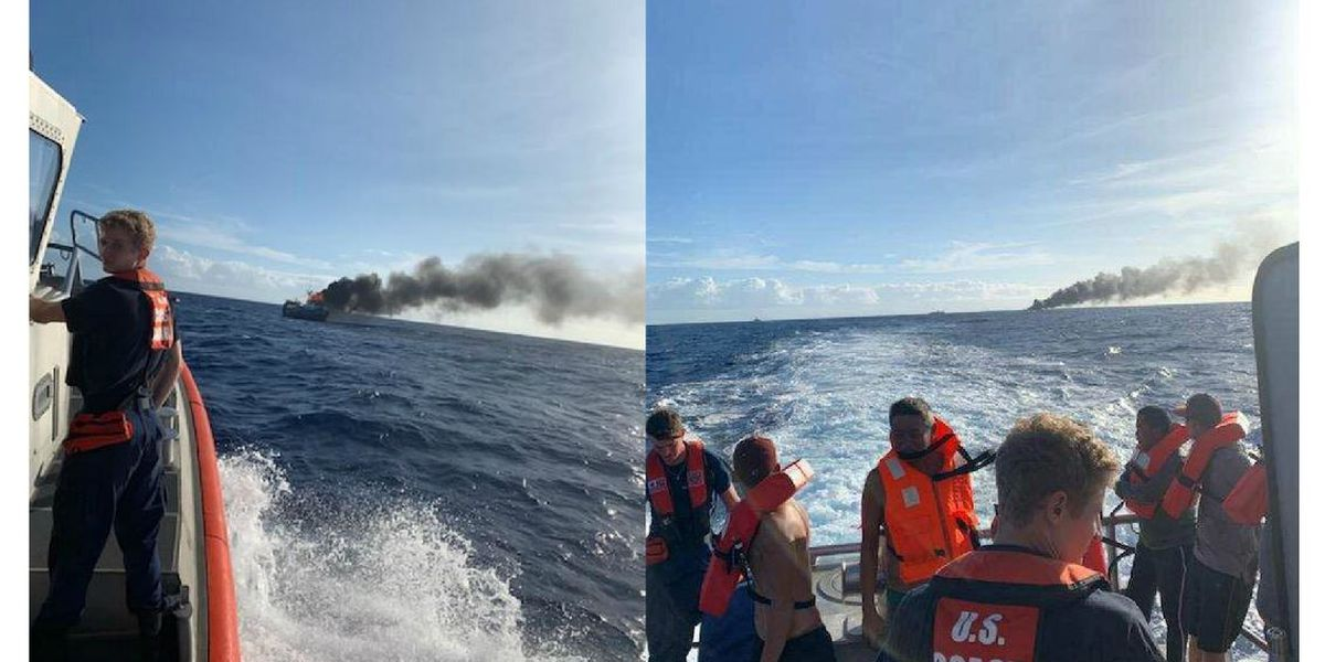 Coast Guard: Fire on a fishing vessel burns into the night after 7 people rescued