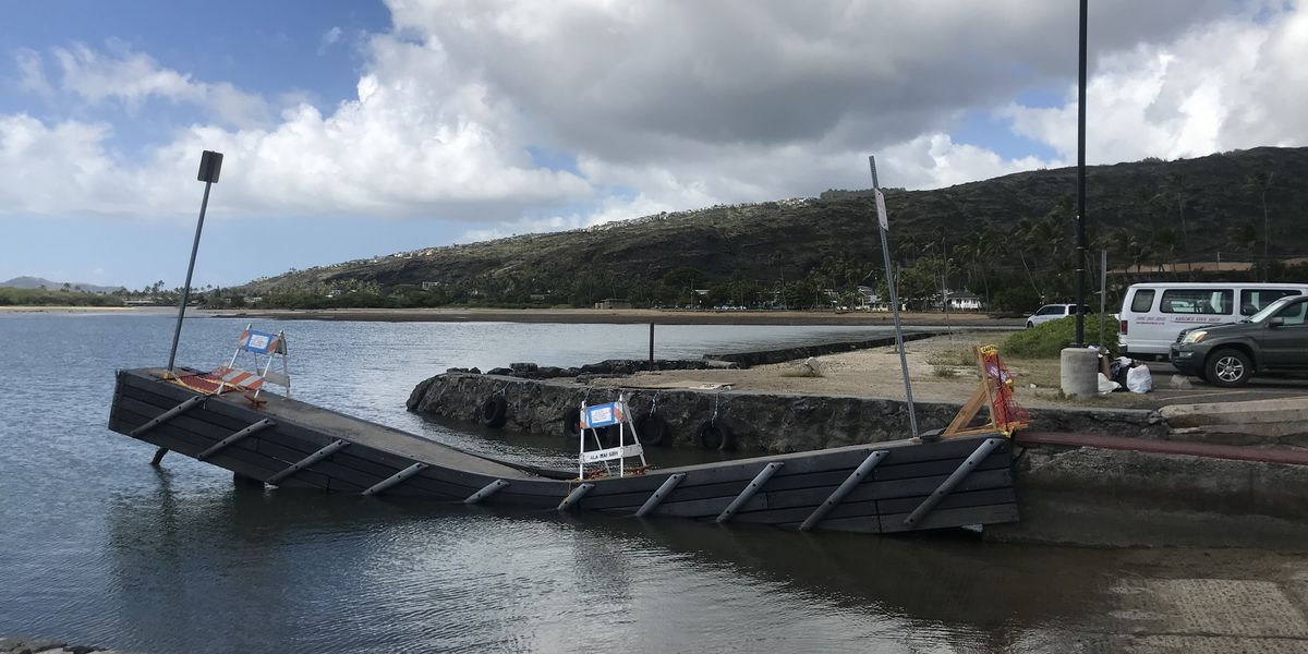 Aging loading dock at Maunalua Bay finally collapses