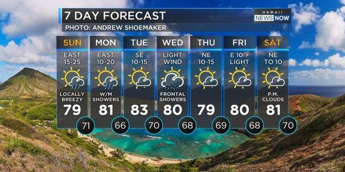 Forecast: Breezy trades, a few more windward showers