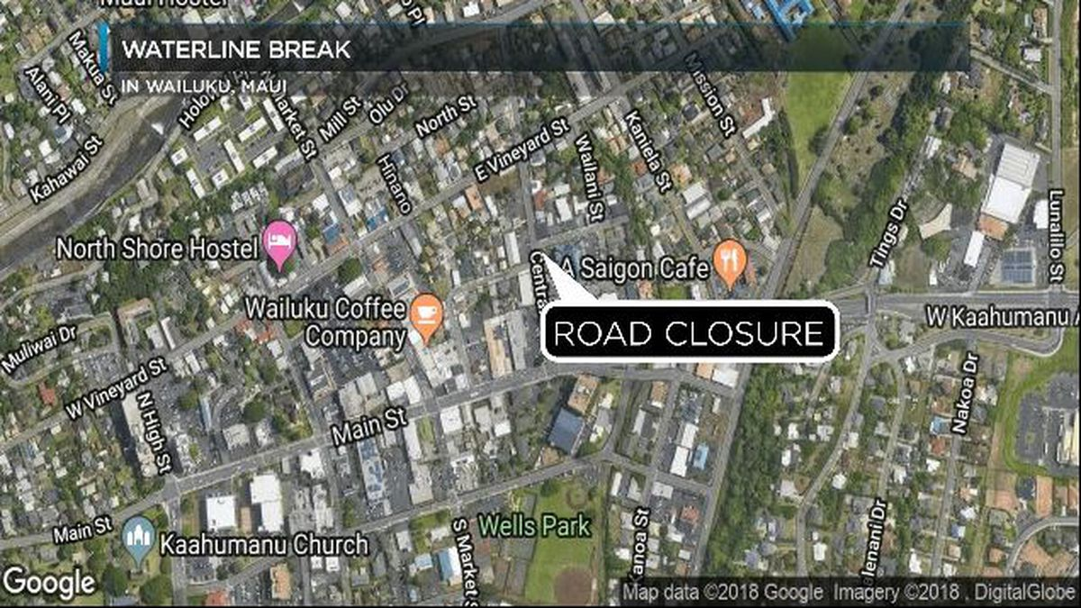 Waterline break shuts down Central Ave. in Wailuku
