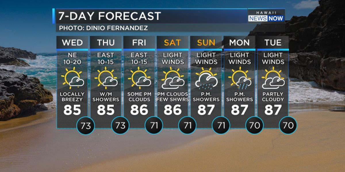 Forecast: Breezy for now until trade winds begin to weaken