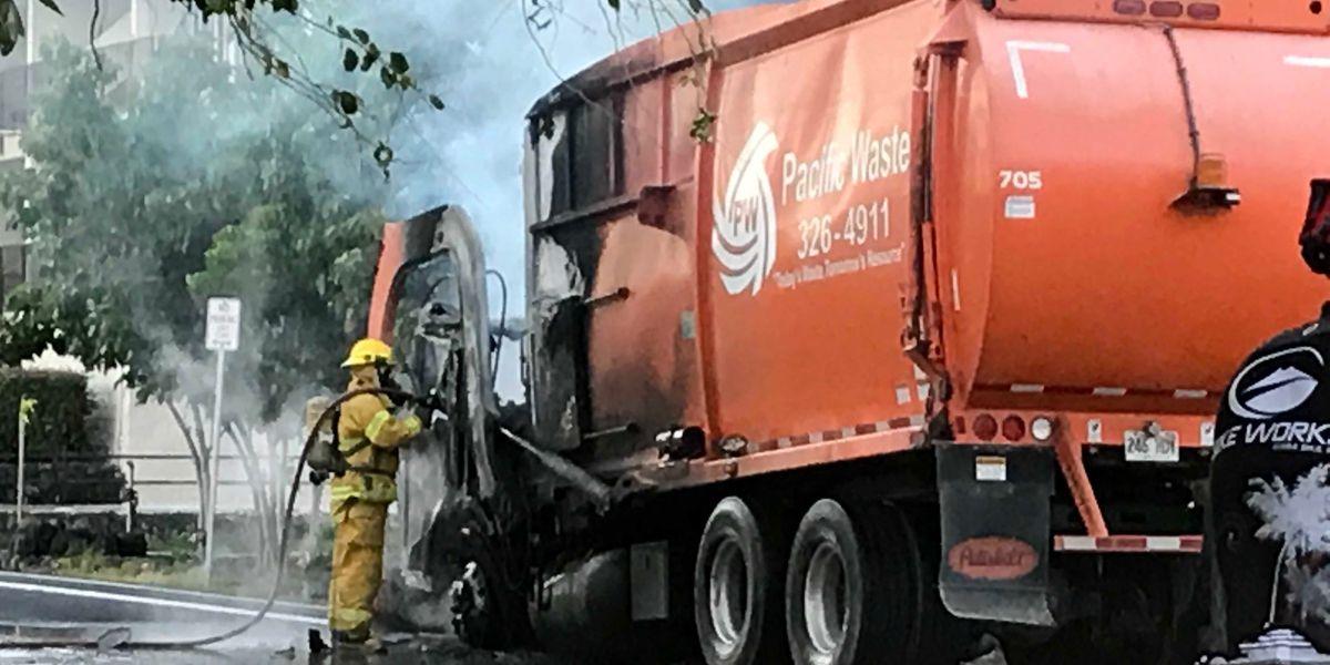 Dump truck bursts into flames in Kona