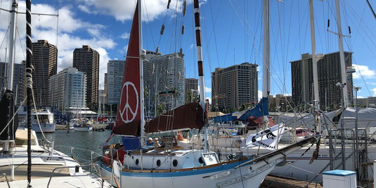 This small sailboat is on a big mission in the Pacific: To remind us of the Golden Rule