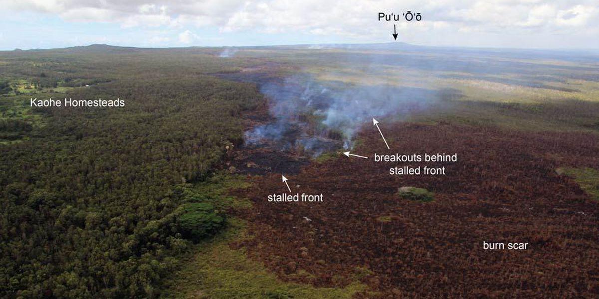 Puna lava flow breakouts slow, fresh lava continues moving through Pu'u O'o tube