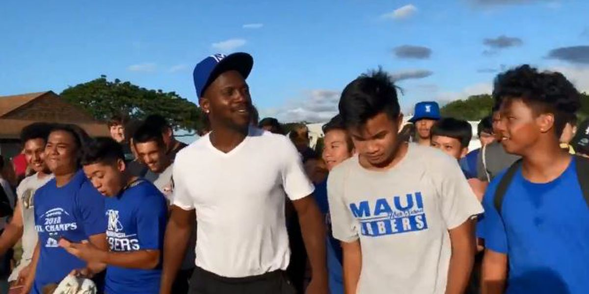 Antonio Brown visits & practices with Maui High School football team