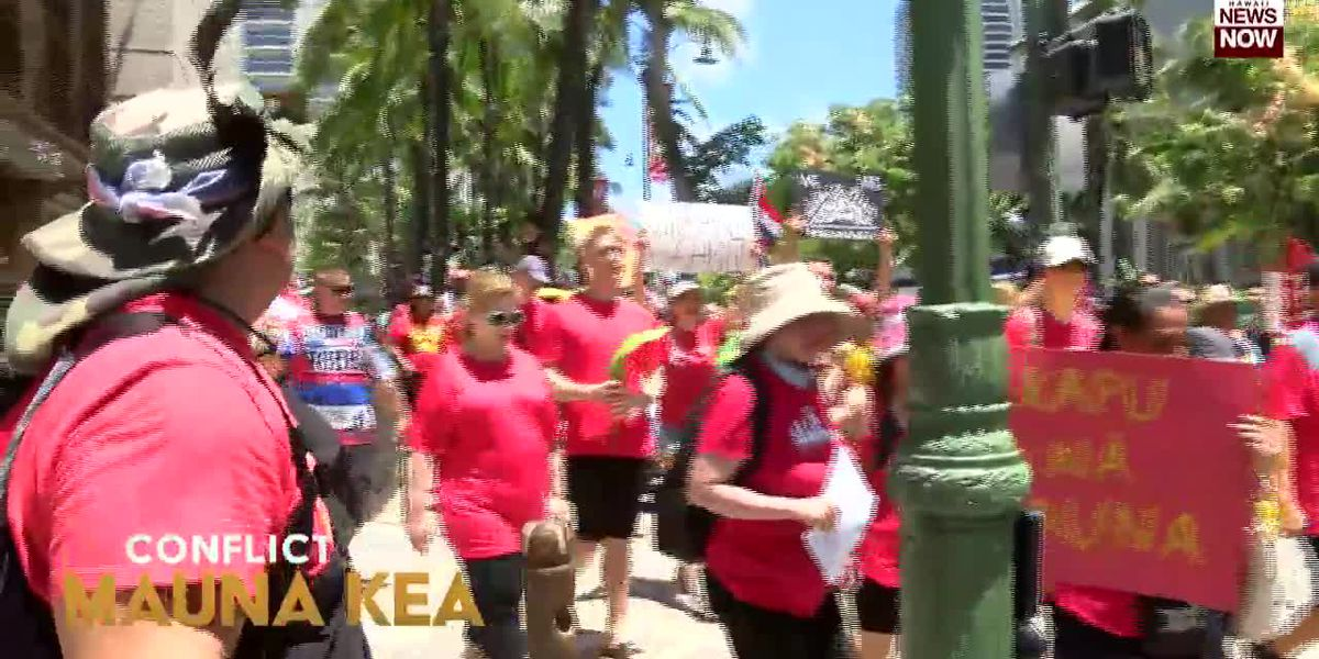 More than a thousand people took to the streets of Waikiki Sunday to protest TMT