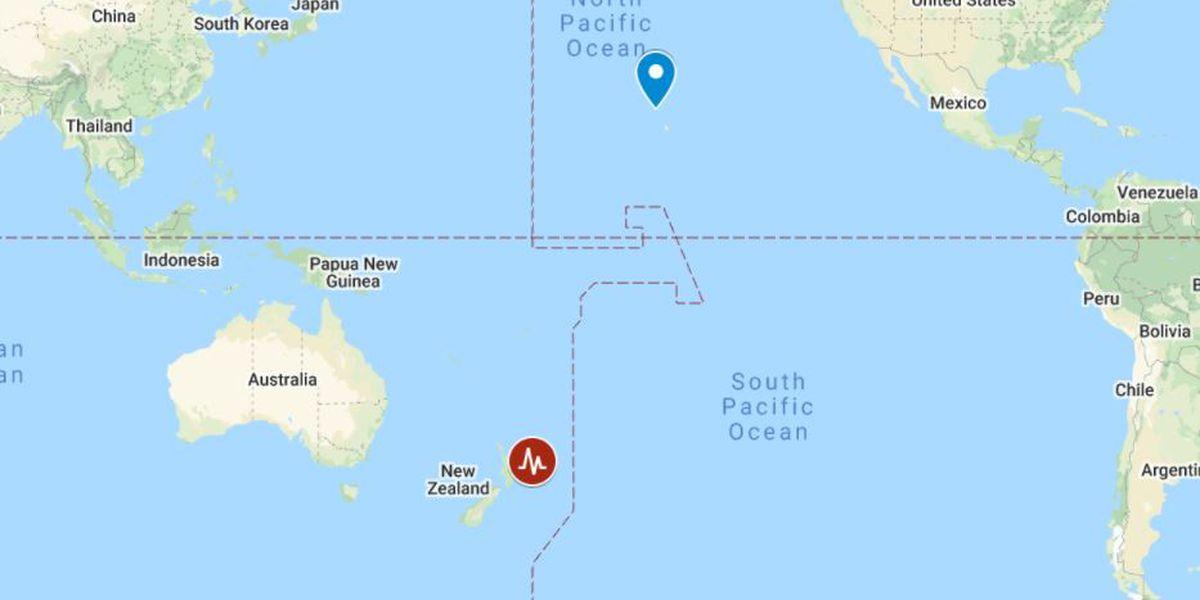 No tsunami threat to Hawaii following 2 strong earthquakes off New Zealand