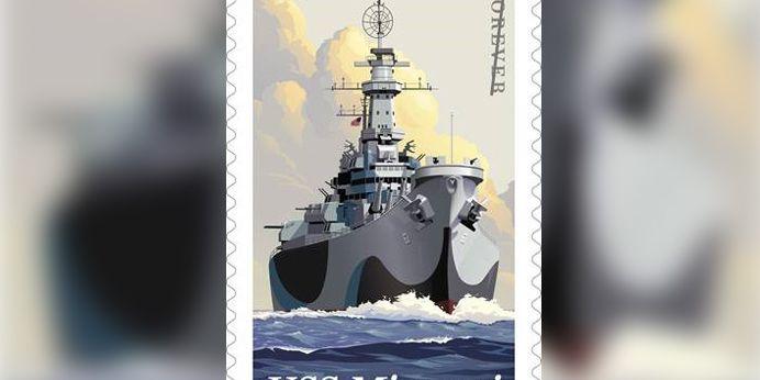 Here's what the U.S. Postal Service's new USS Missouri stamp looks like