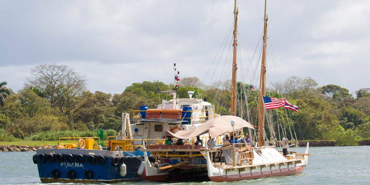 Hokulea back in Pacific after Panama Canal crossing