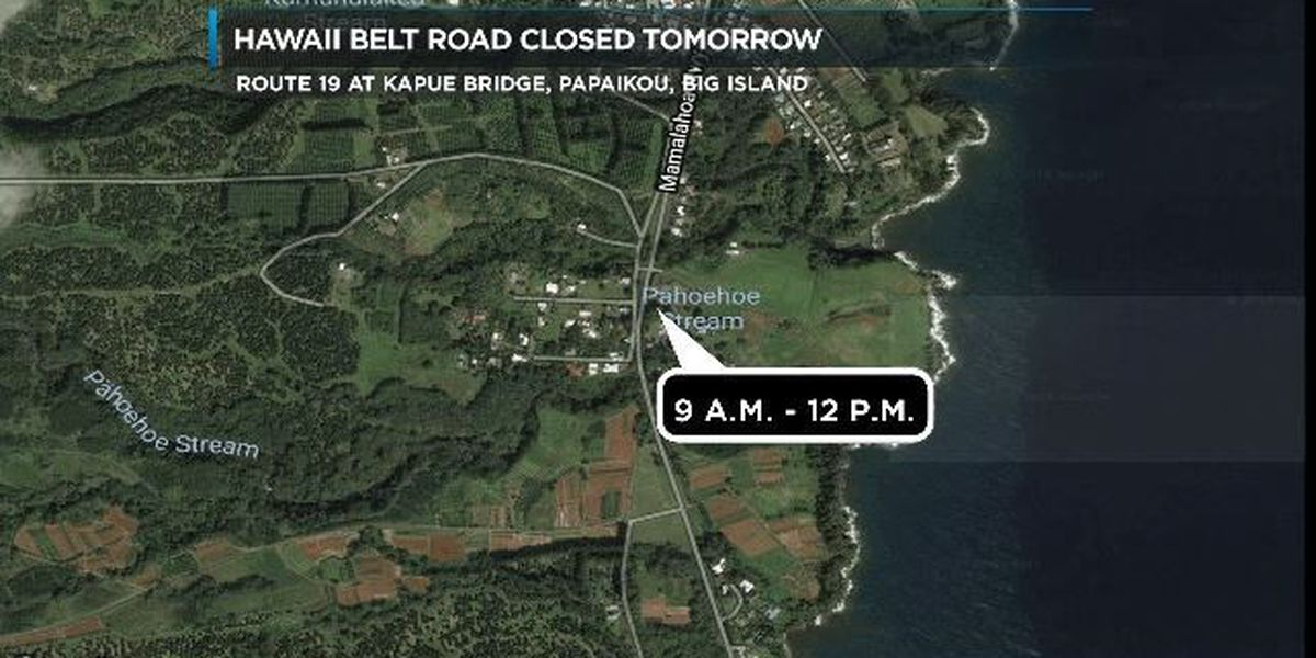 Portion of Hawaii Island's Route 19 to close for emergency repairs