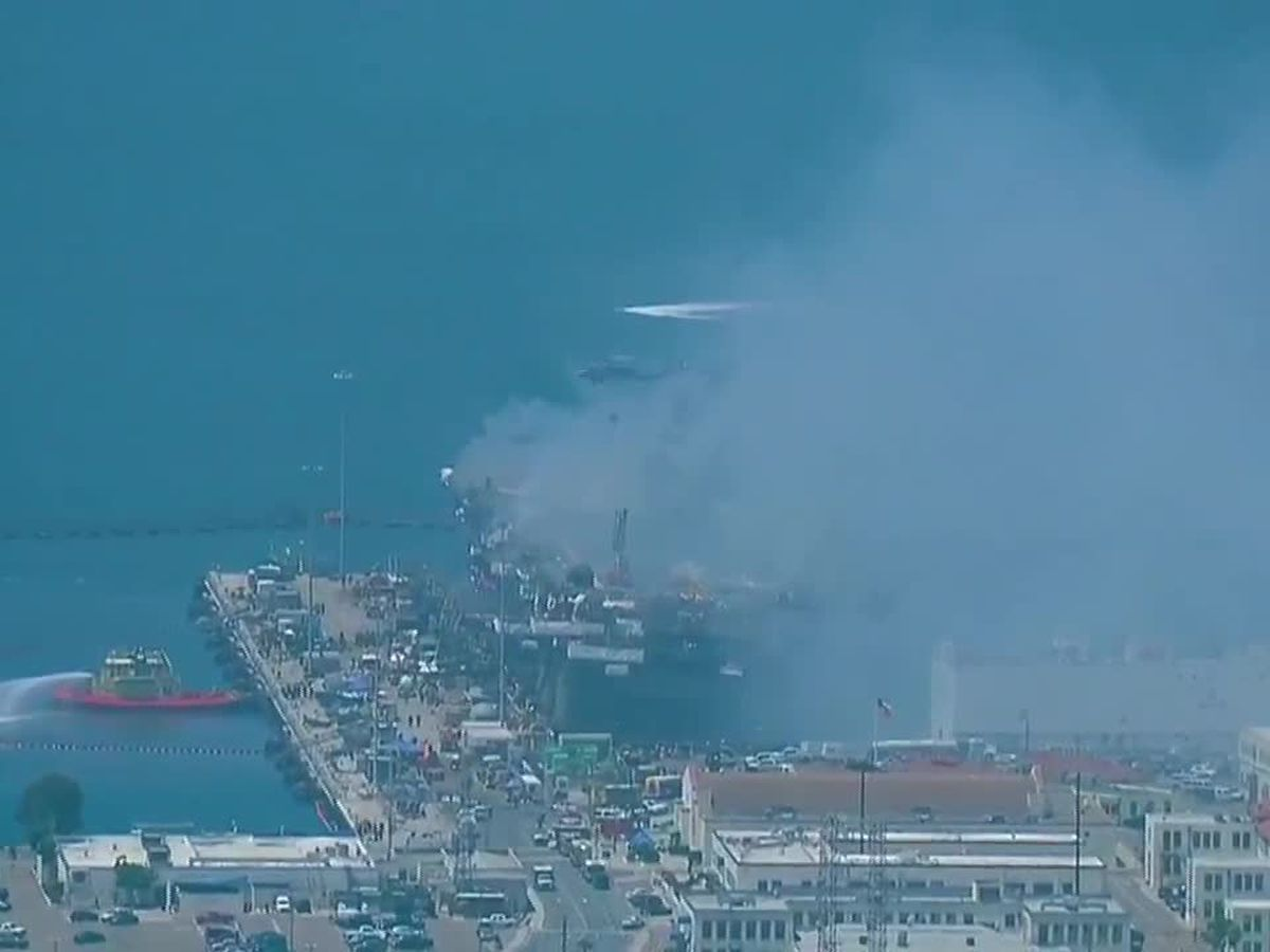 Navy sees progress against blaze on warship in San Diego Bay