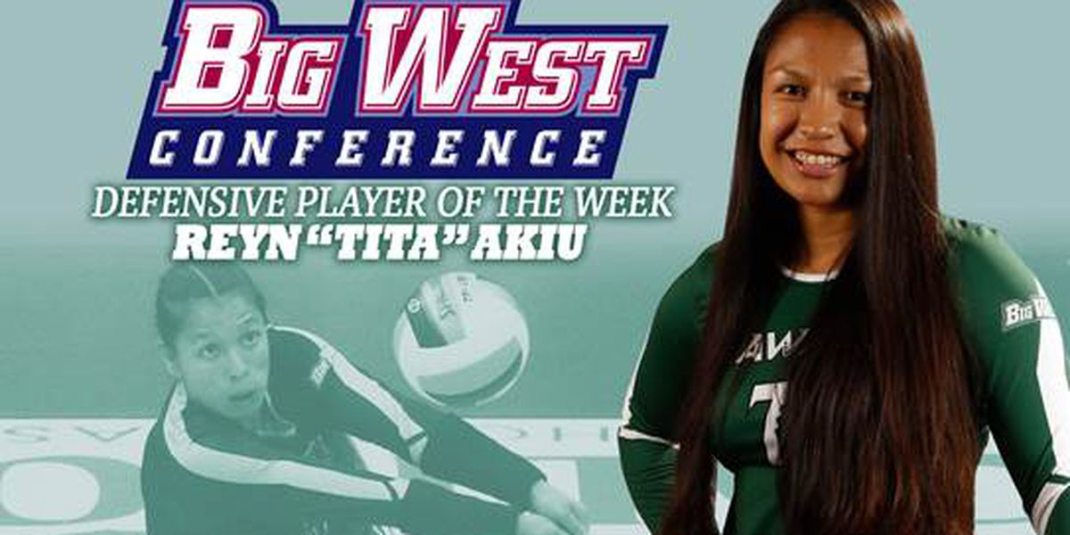 Wahine Libero Akiu named Big West conference defensive player of the week