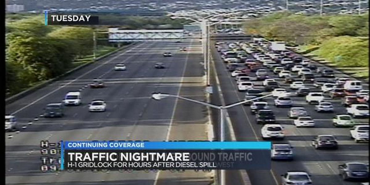 Oil spill causes westbound traffic gridlock on H-1