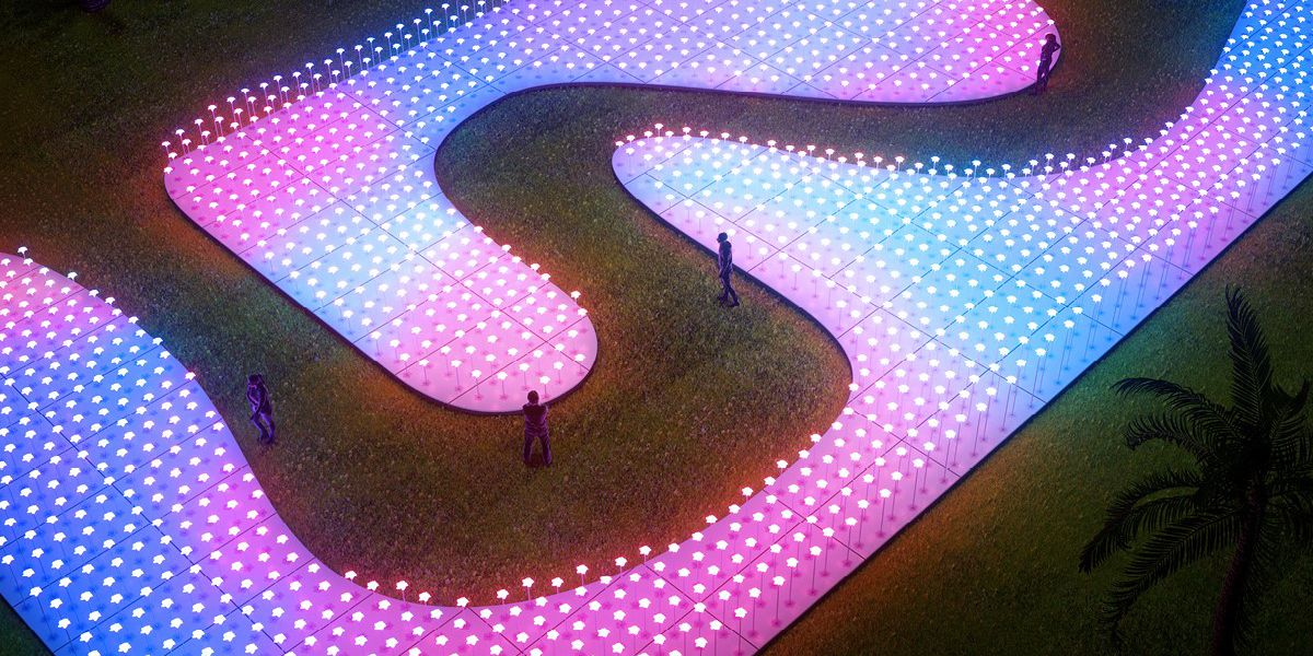 Interactive art installation featuring 2,300 luminous flowers to dazzle crowds