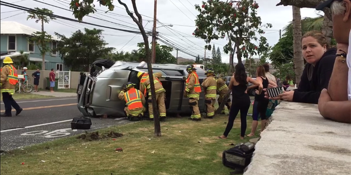 SUV flipped after collision in Kailua