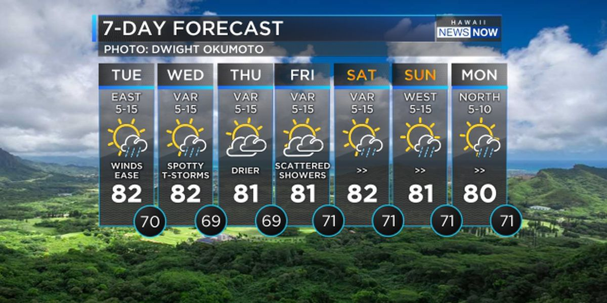 Forecast: Lighter winds with increasing showers due today