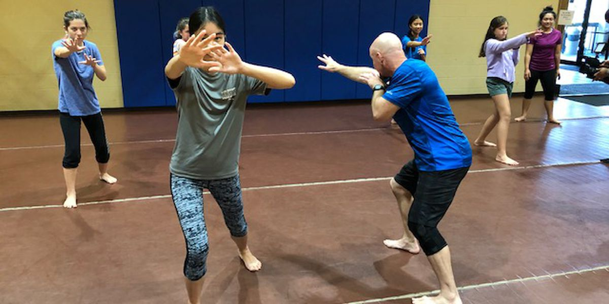 Teen girls learn to use a key natural instinct in a specialized self-defense class