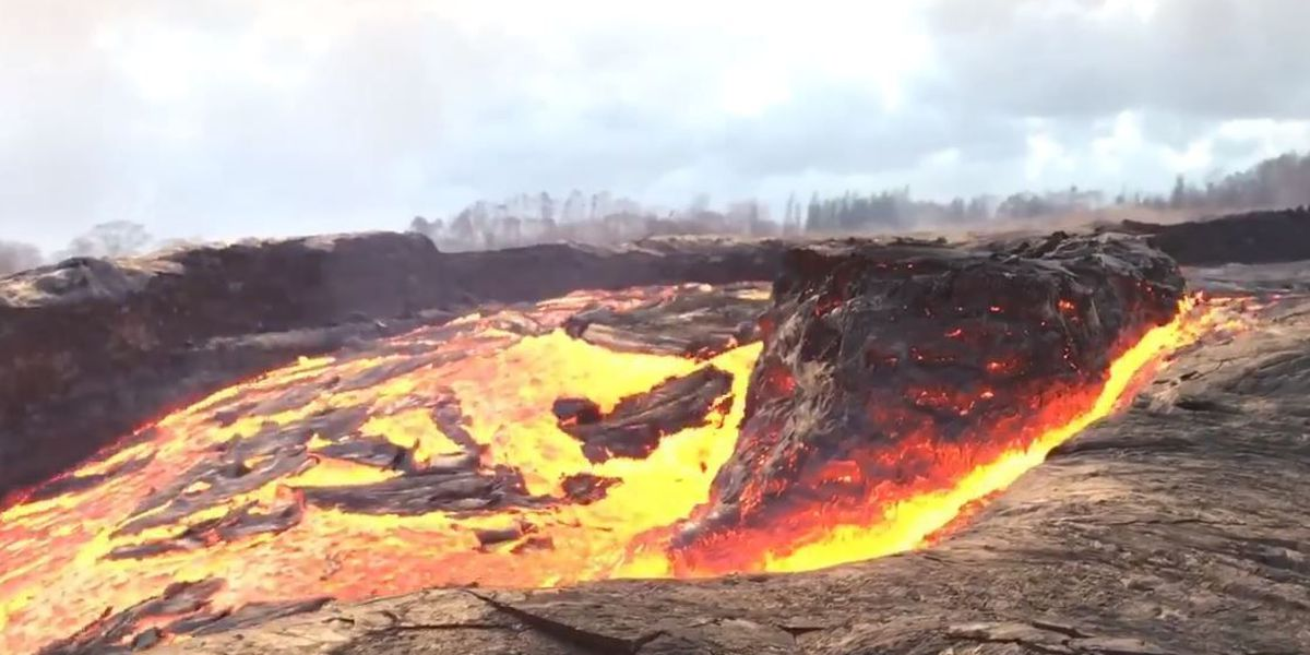 Check out this monster 'boat' floating in lava rapids