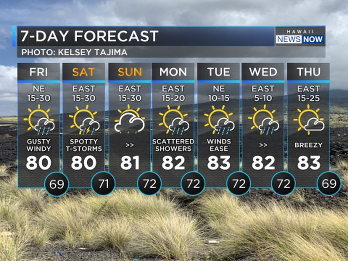 Forecast: Gusty trade winds, increasing showers into the weekend