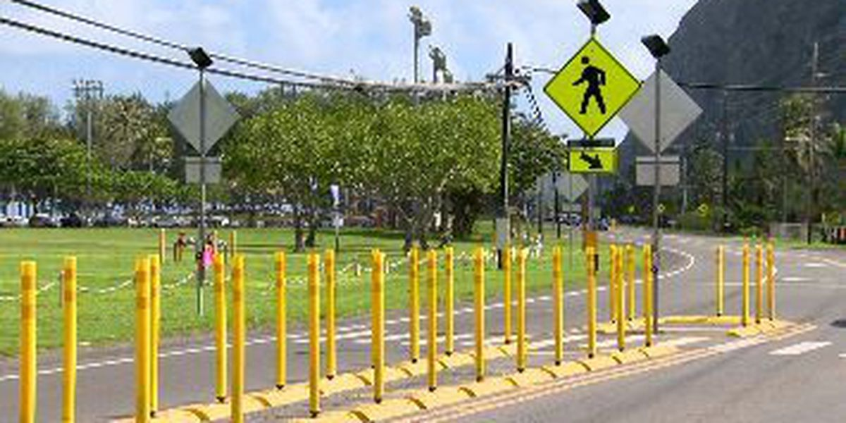 Flashing lights, raised curbs among added pedestrian safety improvements in Waimanalo