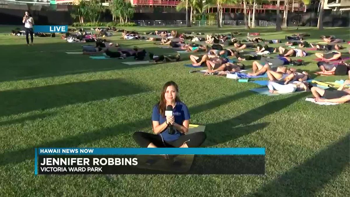 Namaste - Your weather report from Victoria Ward Park for a free yoga event and the Rams Cheerleaders