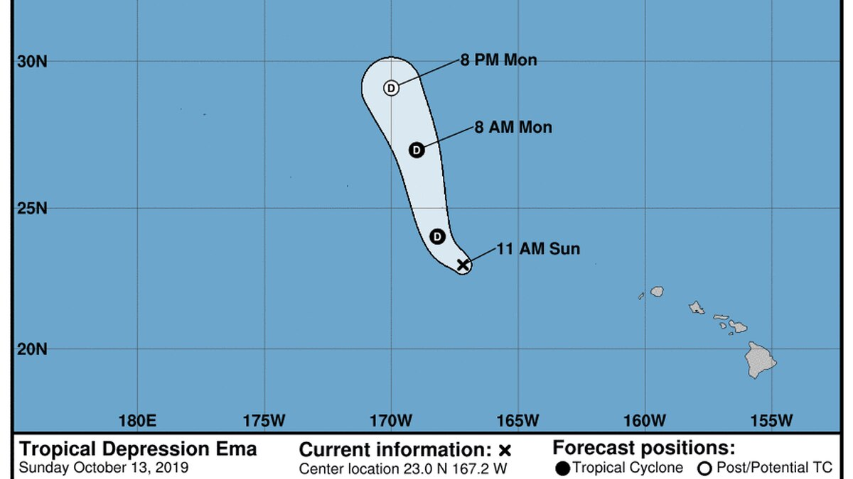 Ema now a post-tropical remnant low west of the islands