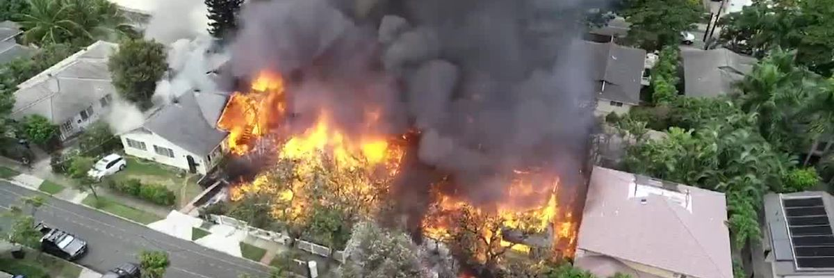 Drone video captures scope of raging fire following double-fatal police shooting