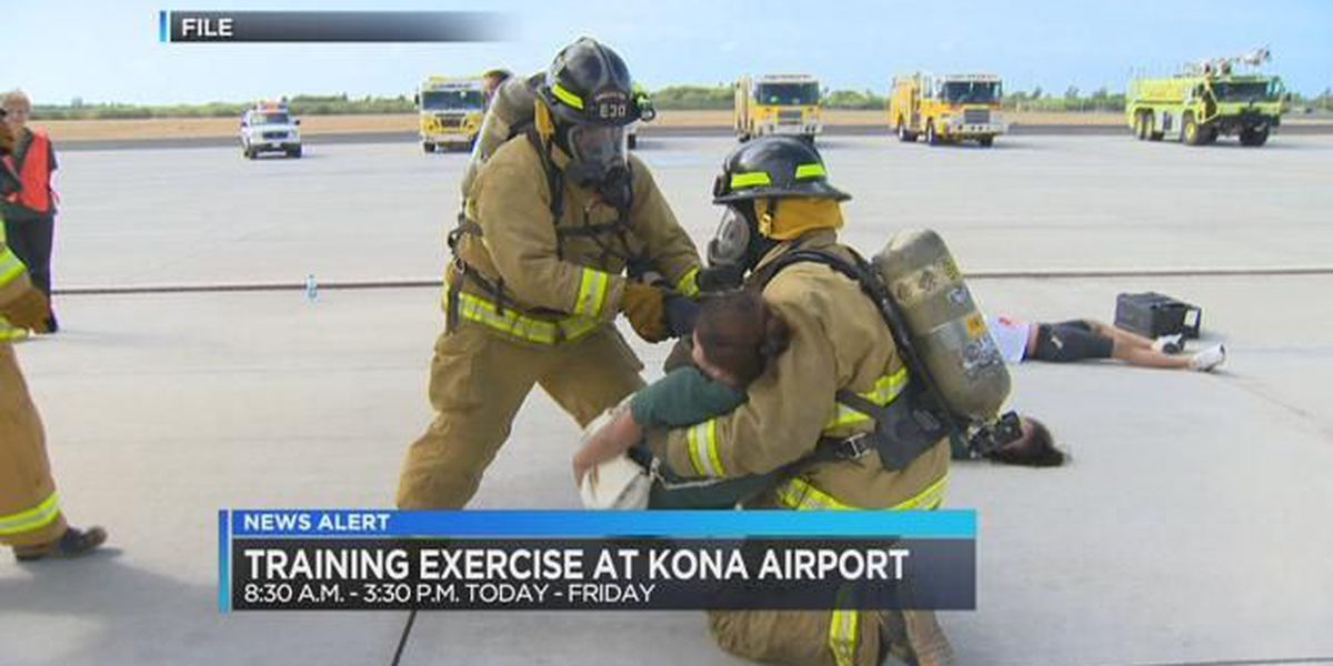 Fire training exercises take place at Kona airport