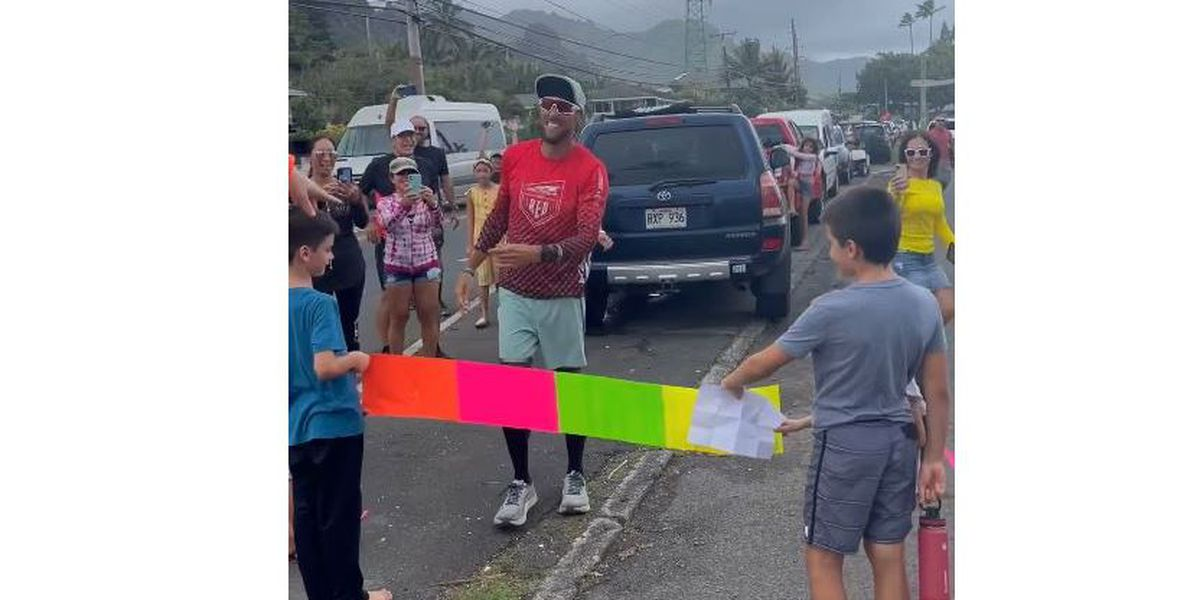 Roughly 30 hours and 135 miles later, a man completes his run around Oahu