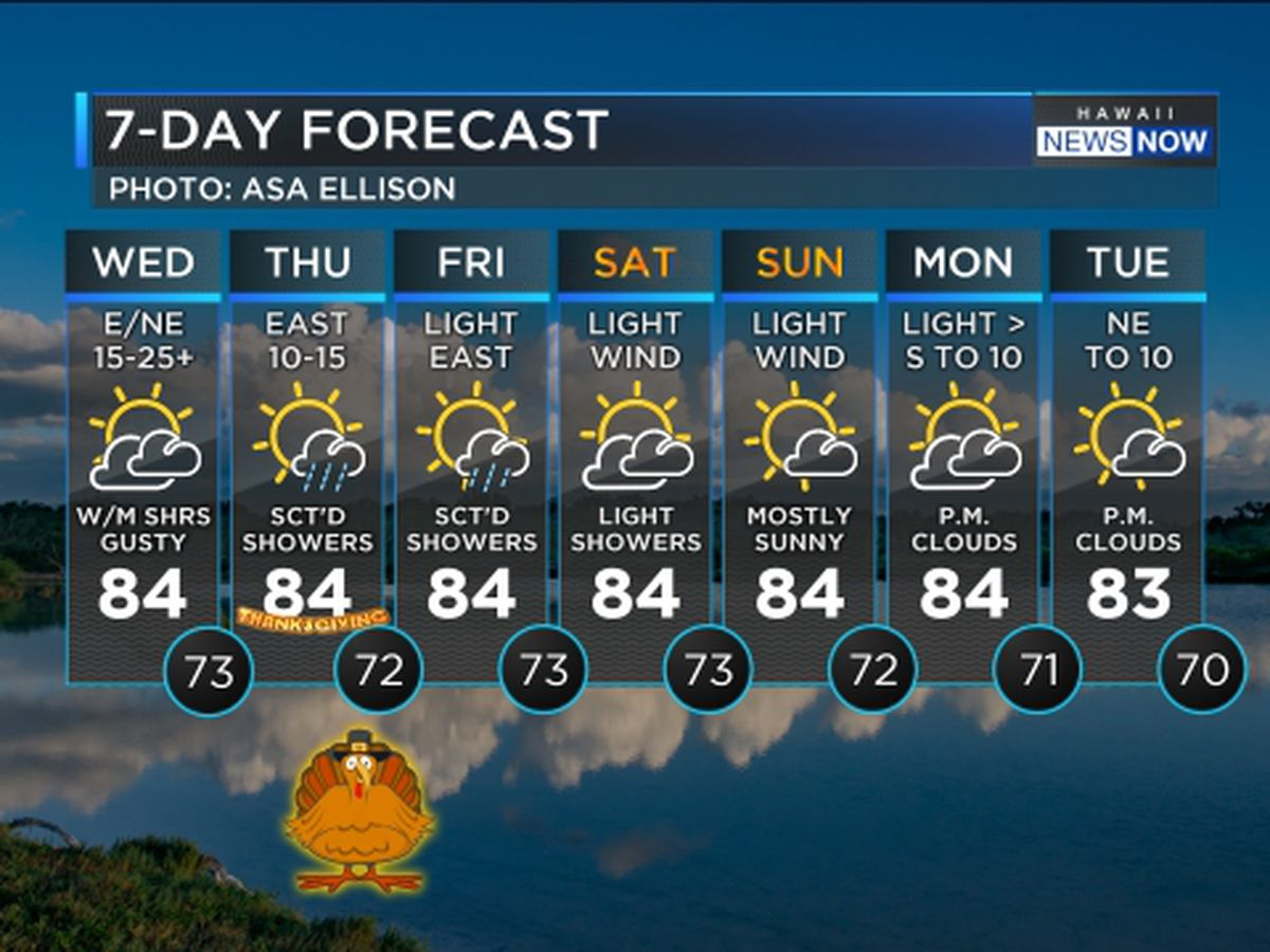 Forecast: Gustier trade winds, a few more showers as Thanksgiving Day approaches
