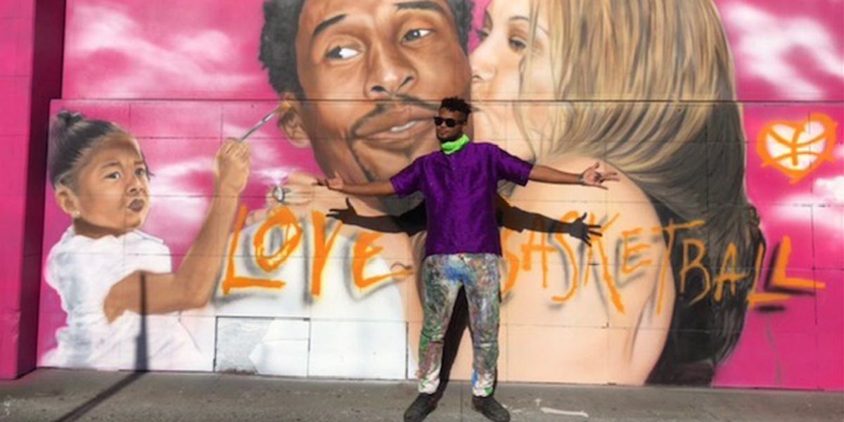 Island artist paints tribute to Kobe Bryant with a street mural in Los Angeles