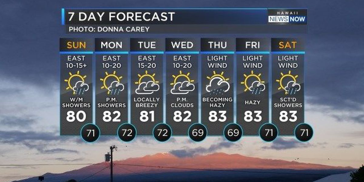 Forecast: Wet trade wind pattern for the next few days