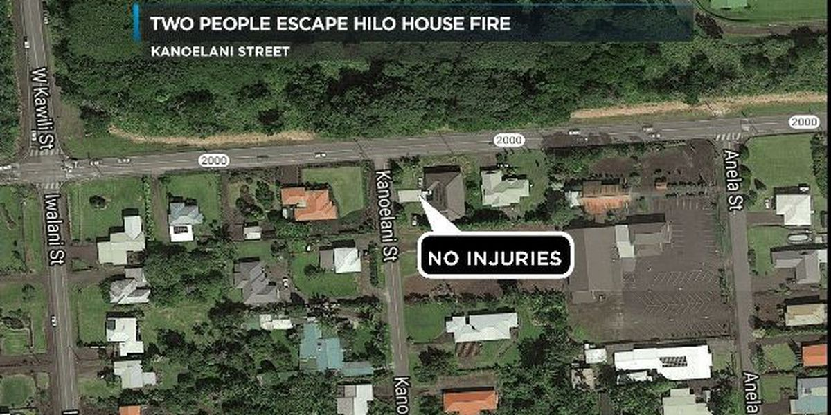 Two people escape unharmed from burning Hilo home