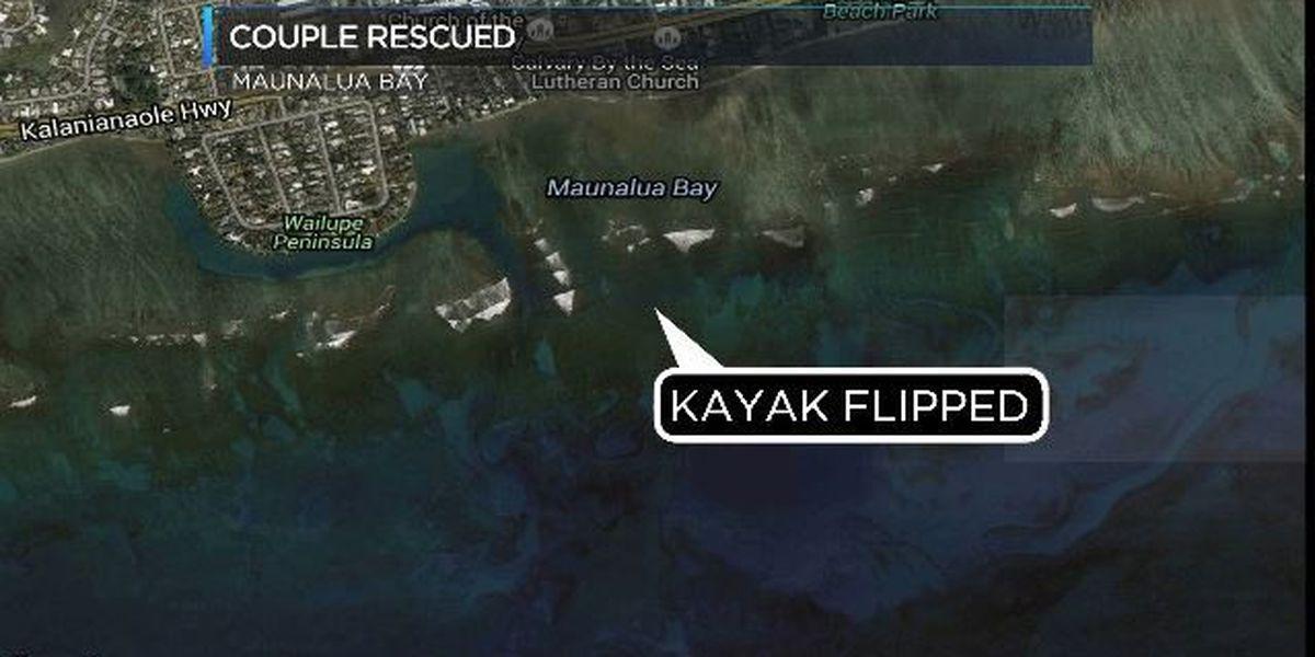Lifeguards rescue kayakers off Maunalua Bay