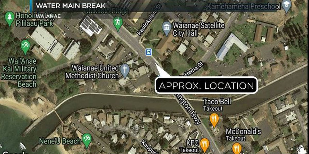 Water main break in Waianae closes city offices, affects traffic