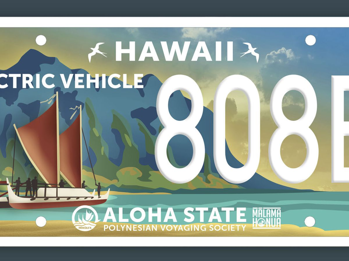 A new license plate for electric vehicles is being proposed, and it honors Hokulea