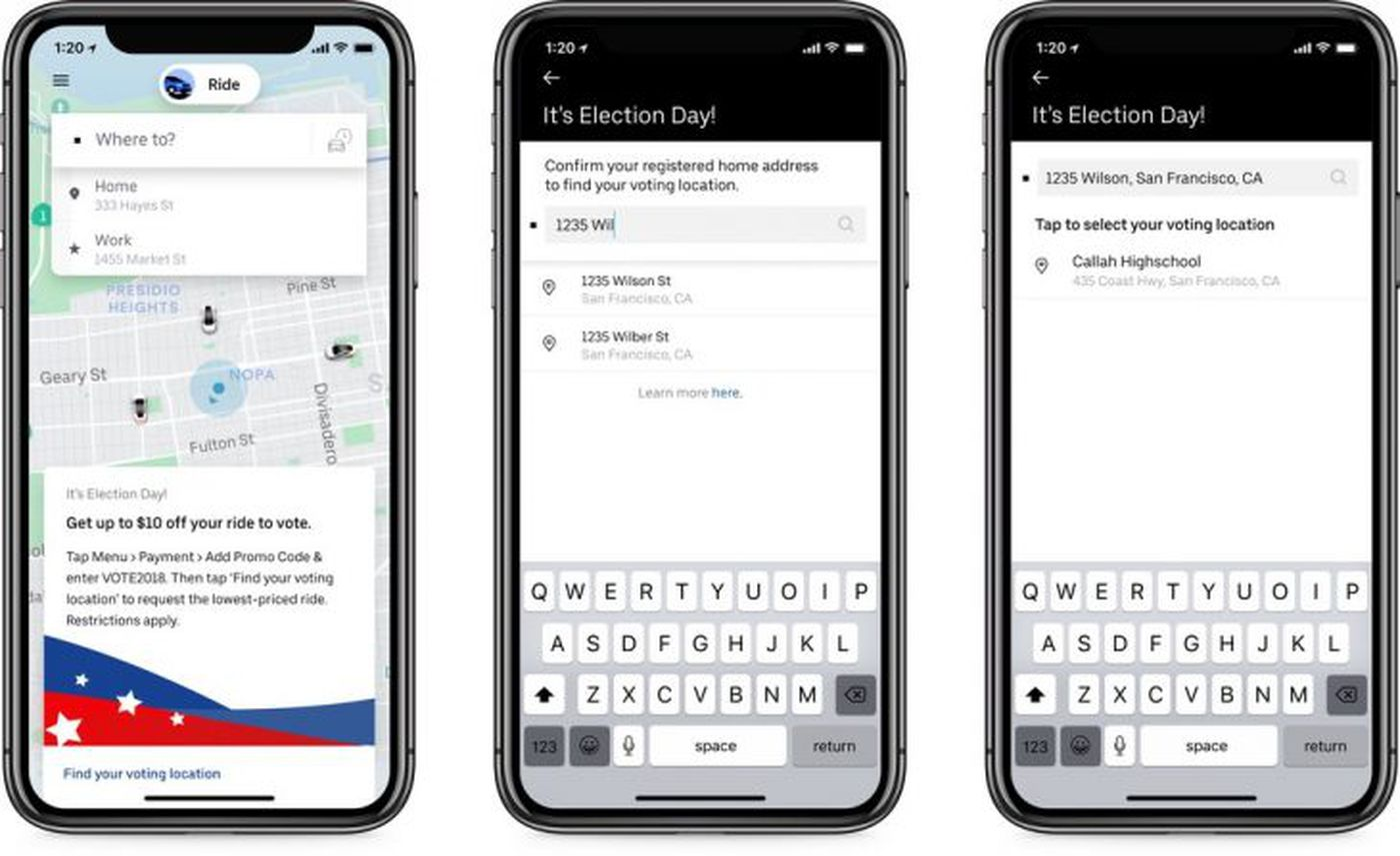Get an Uber, Lyft, Lime to cast your vote on Election Day, use promo