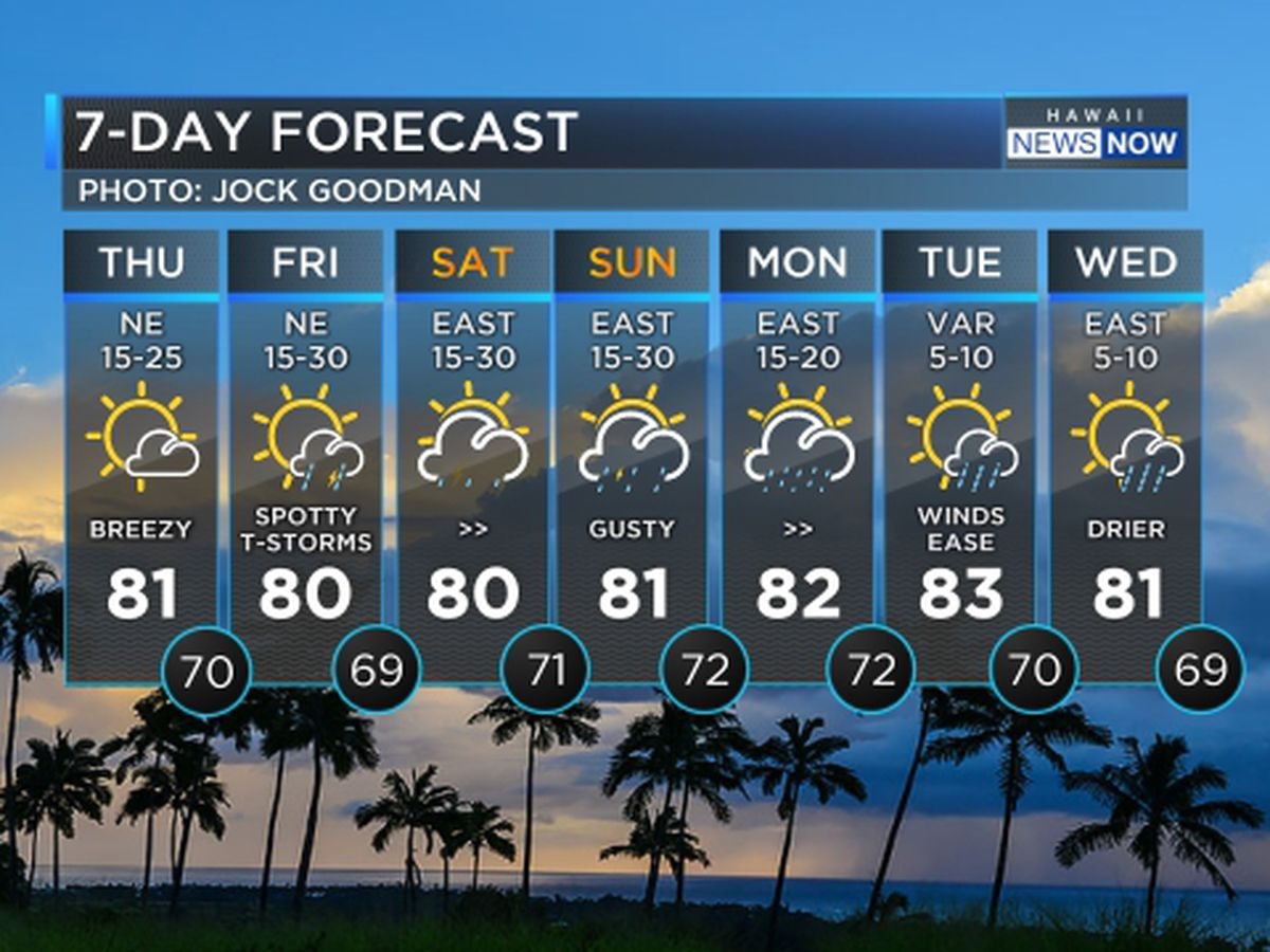 Forecast: Gusty trade winds with increasing showers due for the weekend