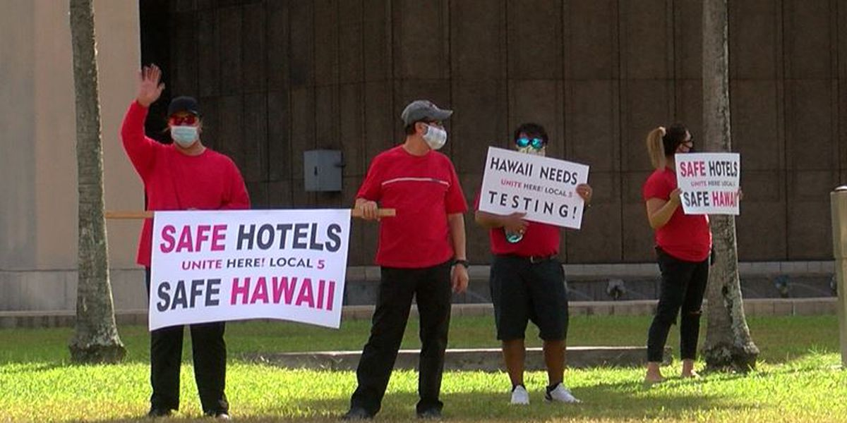 Hotel workers protest, calling for protection ahead of tourism restart