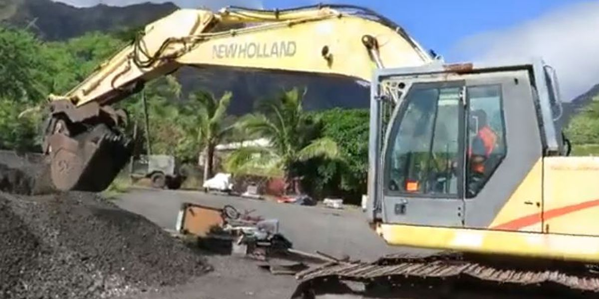 Heavy equipment auction includes excavator, cars ... and a bounce house