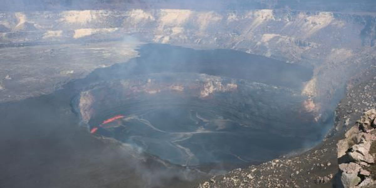 New view of Halemaumau Crater exposed